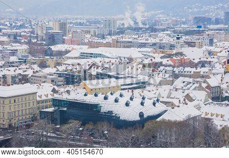 Graz, Austria-03.12.2020: Kunsthaus , The Modern Graz Art Museum For Contemporary Art, Looking Like