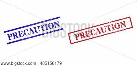 Grunge Precaution Stamp Seals In Red And Blue Colors. Seals Have Rubber Surface. Vector Rubber Imita