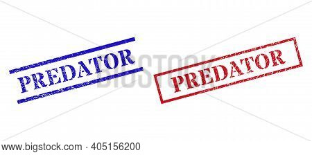 Grunge Predator Rubber Stamps In Red And Blue Colors. Seals Have Distress Style. Vector Rubber Imita