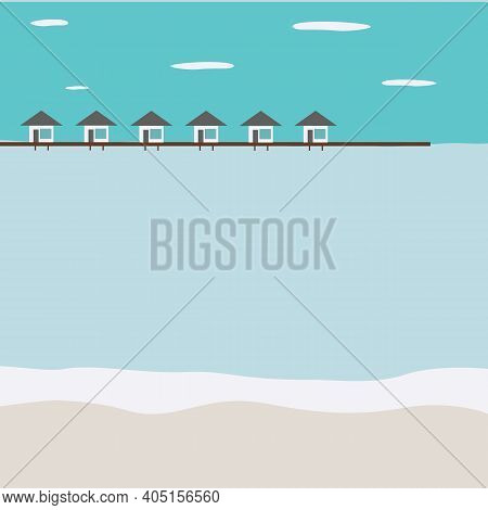 Islands And Beach Of Maldives. Residential Houses Stand In The Ocean