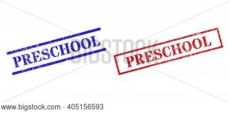 Grunge Preschool Rubber Stamps In Red And Blue Colors. Stamps Have Distress Surface. Vector Rubber I