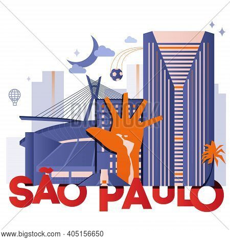 Sao Paulo Culture Travel Night Set, Famous Architectures Specialties In Flat Design. Business Brazil