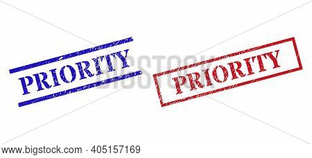 Grunge Priority Rubber Stamps In Red And Blue Colors. Seals Have Rubber Style. Vector Rubber Imitati