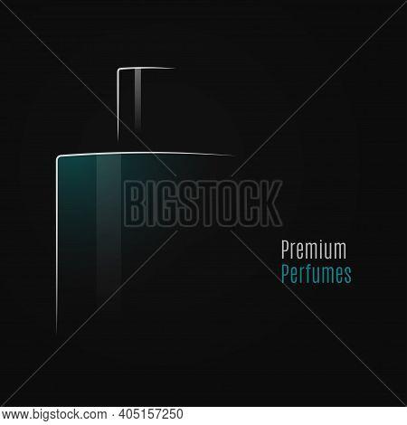 Perfume Bottle Logo On Black Design Background