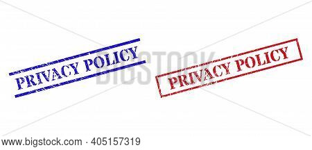 Grunge Privacy Policy Rubber Stamps In Red And Blue Colors. Stamps Have Rubber Style. Vector Rubber
