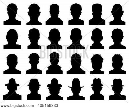 Black Silhouettes Of Avatars, Icons Of Anonymous Faces On A White Background