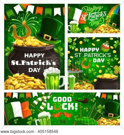 Happy St. Patricks Day, Green Holiday Attributes And Lettering. Vector Cauldron Full Of Gold, Leprec