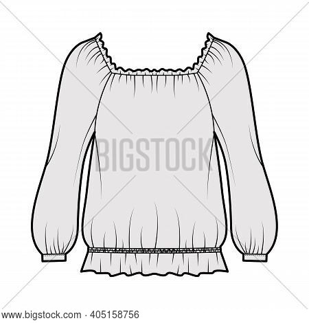 Peasant Blouse Technical Fashion Illustration With Bouffant Long Sleeves, Gathered Wide Scoop And He