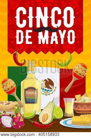 Cinco De Mayo Vector Poster, Traditional Mexican Food Enchiladas, Nachos With Guacamole, Corn. Tequi
