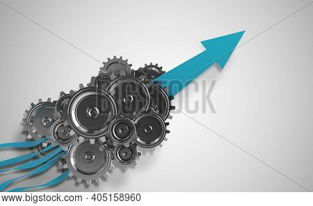 Gear Mechanism That Assembles Multiple Inputs To Generate Revenue Growth . 3d Rendering
