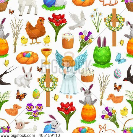 Easter Religion Holiday Seamless Pattern. Vector Background With Easter Eggs, Bunnies And Rabbits, C