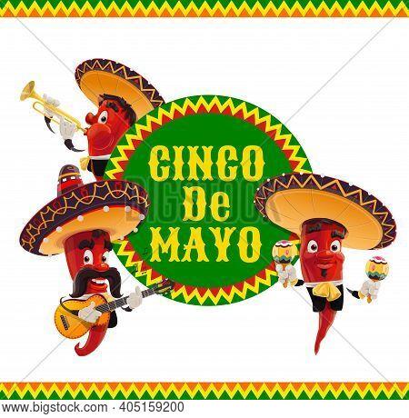 Cinco De Mayo Vector Icon, Jalapenos Musicians In Mexican Sombrero Playing Guitar, Trumpet And Marac