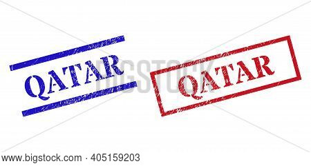 Grunge Qatar Stamp Watermarks In Red And Blue Colors. Seals Have Rubber Style. Vector Rubber Imitati