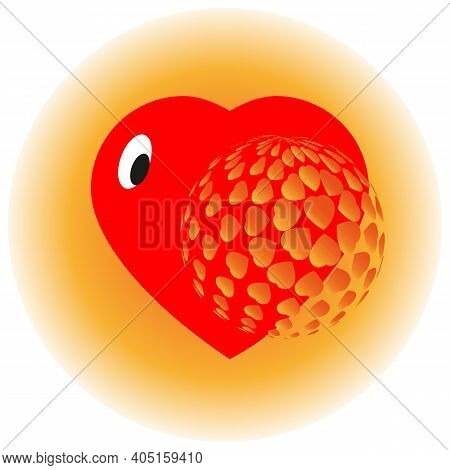 Vector Image Of A Stylized Heart Peeking Out From Behind A Volumetric Ball On An Orange Gradient Ded