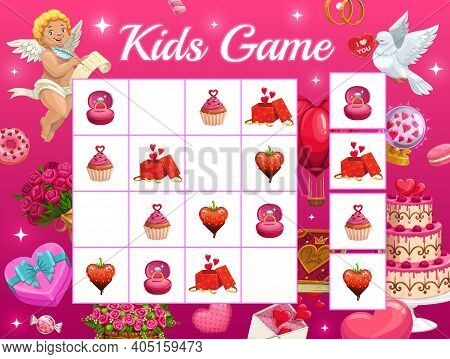 Kids Game Vector Riddle For Valentines Day With Cartoon Cupid Characters, Gift, Sweets, Ring On Cheq