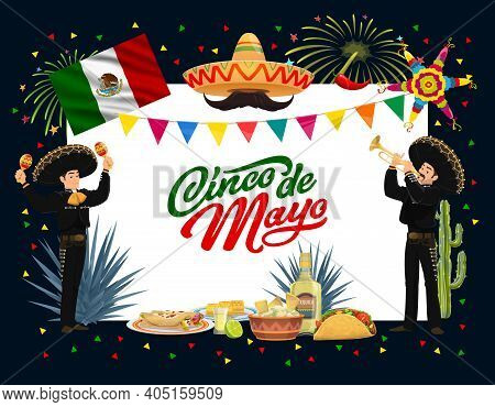 Mexican Cinco De Mayo Holiday Vector Design With Fiesta Party Food, Mariachi Characters And Sombrero