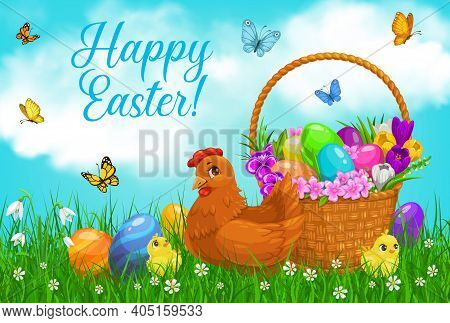 Easter Egg Hunt Basket With Chicks, Vector Religion Holiday. Easter Eggs, Chicken And Chicks On Spri
