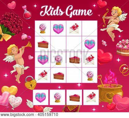 Kids Game Vector Riddle With Valentine Holiday Cartoon Cupid Characters, Hearts, Letter, Souvenir, S