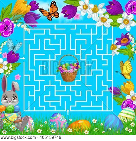 Kids Maze Game Help Easter Bunny Choose Right Way To Get Eggs Basket In Square Labyrinth Center. Vec