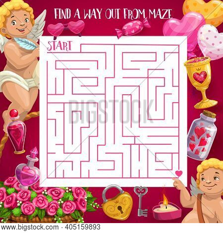 Kids Maze Game Valentines Day Theme, Vector Square Labyrinth With Cupids And Festive Elements. Find