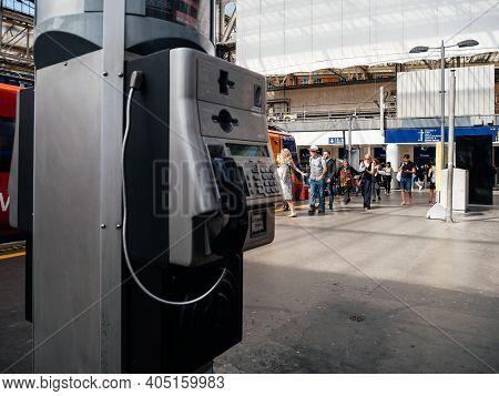 London, United Kingdom - May 19, 2018: Vintage Public Phone Bt Phonecard In British Train Station Wi
