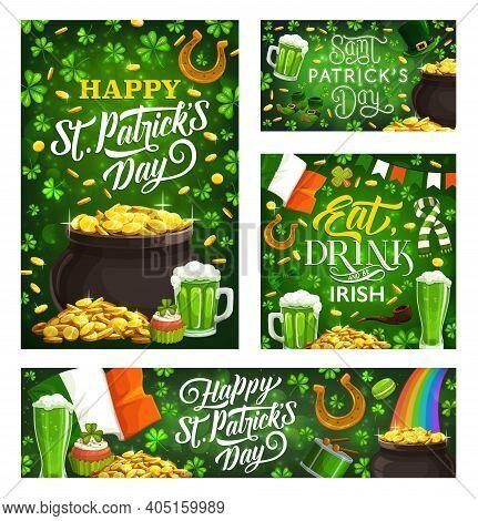 Happy St Patricks Day Vector Green Symbols Of Irish Religion Holiday. Vector Lettering And Leprechau
