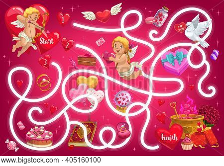 Kids Maze Game, Valentines Day Vector Labyrinth With Cupids And Festive Items. Tangled Puzzle, Find