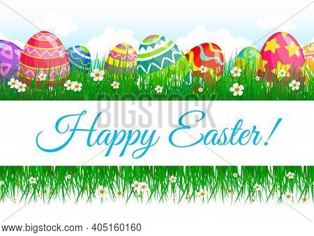 Easter Eggs And Green Grass Vector Border Of Religion Holiday Banner. Easter Eggs, Grass Blades And
