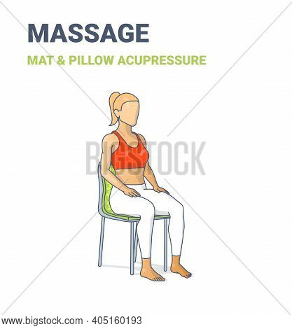 Female Siting On Chair On An Acupressure Mat. Concept Of A Woman Relaxing At Home On A Massage Mat.