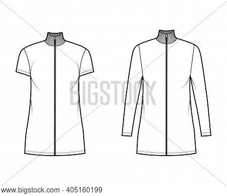 Turtleneck Zip-up Dress Technical Fashion Illustration With Long, Short Sleeves, Mini Length, Oversi