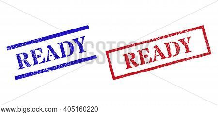 Grunge Ready Rubber Stamps In Red And Blue Colors. Seals Have Draft Style. Vector Rubber Imitations