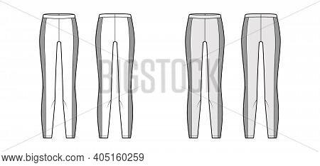 Yoga Pants Technical Fashion Illustration With Elastic Waistband, Side Panels, Training Slim, Trouse