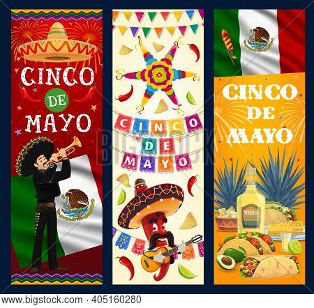 Cinco De Mayo Vector Banners. Cartoon Mariachi Musician With Trumpet, Jalapeno Chili Pepper In Sombr