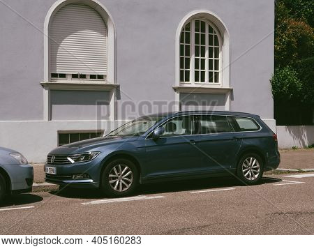Strasbourg, France - June 18, 2018: Side View Of New Volkswagen Passat Wagon Car Parked On A Street