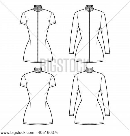 Turtleneck Zip-up Dress Technical Fashion Illustration With Long, Short Sleeves, Mini Length, Fitted