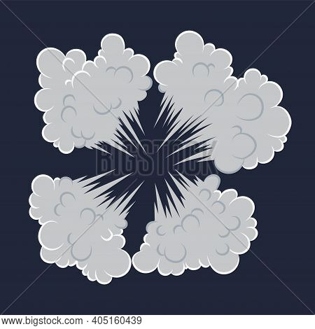 Explosion. Cartoon Bomb Explode Effect With Smoke Effect. Comic Boom Vector Illustration. Clipart El
