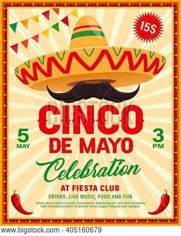 Cinco De Mayo Sombrero Vector Flyer Of Mexican Fiesta Party. Mariachi Musician Sombrero Hat And Must