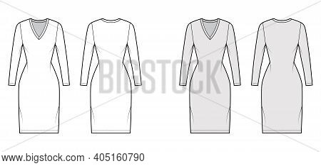 T-shirt Dress Technical Fashion Illustration With V-neck, Long Sleeves, Knee Length, Fitted Body, Pe