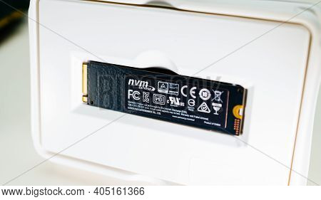 London, United Kingdom - Jan 18, 2019: New Fast M2 V-nand Nvm Express Ssd Samsung 970 Disk With One
