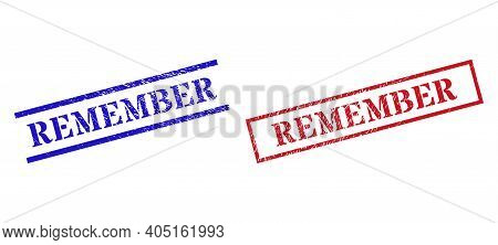 Grunge Remember Rubber Stamps In Red And Blue Colors. Stamps Have Draft Surface. Vector Rubber Imita