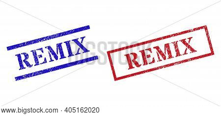 Grunge Remix Rubber Stamps In Red And Blue Colors. Seals Have Rubber Surface. Vector Rubber Imitatio