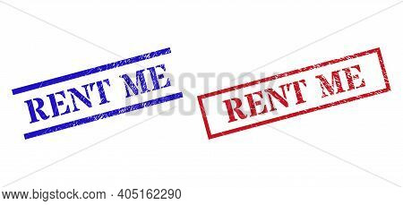 Grunge Rent Me Rubber Stamps In Red And Blue Colors. Stamps Have Distress Style. Vector Rubber Imita
