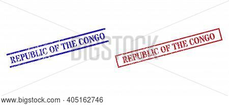 Grunge Republic Of The Congo Rubber Stamps In Red And Blue Colors. Seals Have Rubber Texture. Vector