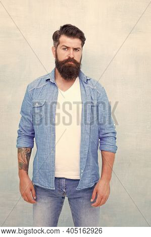 Wear Denim Almost Every Single Day. Male Casual Style. Denim Look. Brutal Hipster With Mustache. Bar