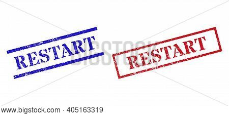 Grunge Restart Stamp Watermarks In Red And Blue Colors. Stamps Have Rubber Style. Vector Rubber Imit