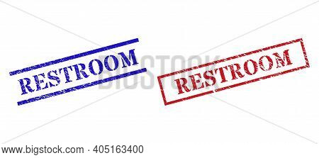 Grunge Restroom Rubber Stamps In Red And Blue Colors. Stamps Have Rubber Style. Vector Rubber Imitat