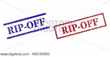 Grunge Rip-off Seal Stamps In Red And Blue Colors. Seals Have Rubber Style. Vector Rubber Imitations