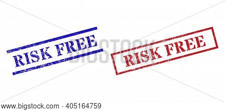 Grunge Risk Free Rubber Stamps In Red And Blue Colors. Seals Have Rubber Surface. Vector Rubber Imit