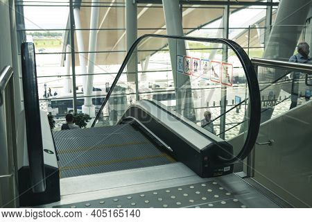 Airport Platov, Russia - 24.05.19: Clean Escalator Closeup At The Airport. Beautiful Modern Escalato
