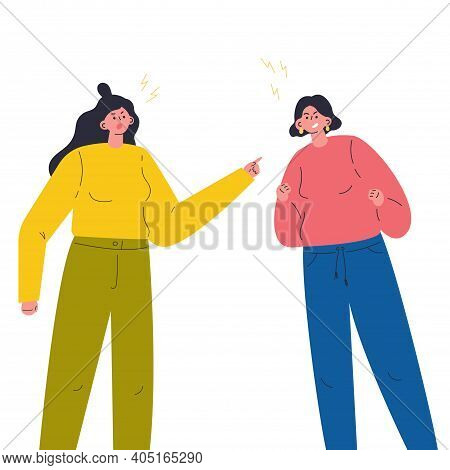 Young Aggressive Woman Girlfriends Parents Yelling And Quarrel. The Psychological Concept Of Family